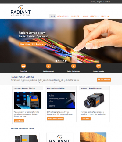 Radiant Vision Systems Website