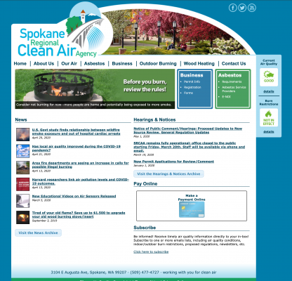 Old Spokane Clean Air website home page